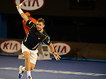 Stanislaus Wawrinka (SUI) loses in marathon match at the Australian Open in Melbourne on January 20, 2013.