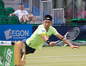 June 14th 2017, Nottingham, England; ATP Aegon Nottingham Open Tennis Tournament day 5;  Sergiy Stakhovsky of Ukraine takes to the air as he takes the first set against fellow countryman Illya Marchenko