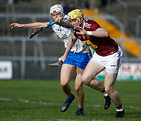 2nd February 2020; TEG Cusack Park, Mullingar, Westmeath, Ireland; Allianz Division 1 Hurling, Westmeath versus Waterford; Aaron Craig (Westmeath) lifts the ball under pressure from Jack Fagan (Waterford)