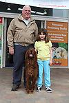 "Sean Ward and Abigail Ward Fallon with Swiper enjoying ""National Dog Walking Day"" at Petmania....(Photo credit should read Jenny Matthews www.newsfile.ie)....This Picture has been sent you under the conditions enclosed by:.Newsfile Ltd..The Studio,.Millmount Abbey,.Drogheda,.Co Meath..Ireland..Tel: +353(0)41-9871240.Fax: +353(0)41-9871260.GSM: +353(0)86-2500958.email: pictures@newsfile.ie.www.newsfile.ie."