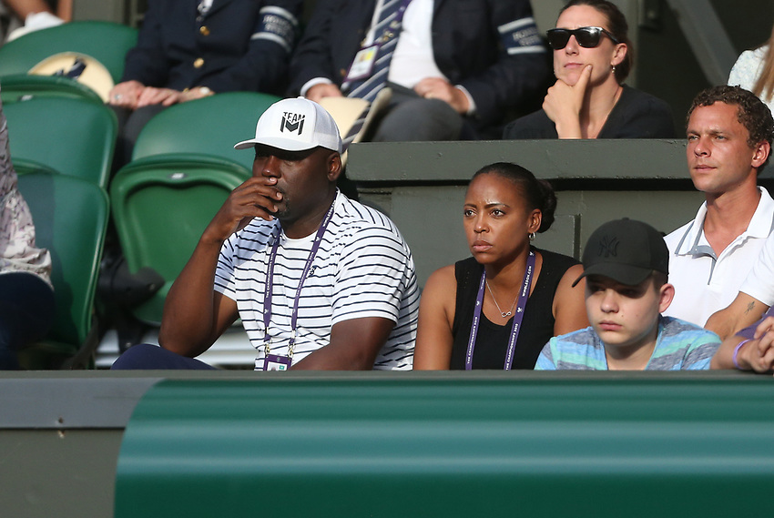 Cori Gauff's parents watch their daughter during her match against Polona Hercog (SLO) in their Ladies' Singles Third Round match<br /> <br /> Photographer Rob Newell/CameraSport<br /> <br /> Wimbledon Lawn Tennis Championships - Day 5 - Friday 5th July 2019 -  All England Lawn Tennis and Croquet Club - Wimbledon - London - England<br /> <br /> World Copyright © 2019 CameraSport. All rights reserved. 43 Linden Ave. Countesthorpe. Leicester. England. LE8 5PG - Tel: +44 (0) 116 277 4147 - admin@camerasport.com - www.camerasport.com