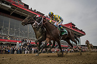 BALTIMORE, MD - MAY 20:  Cloud Computing #2 ridden by Javier Castellano defeats Classic Empire #5 and Julien Leparoux to win the Preakness Stakes at Pimlico Race Course on May 20, 2017 in Baltimore, Maryland. (Photo by Alex Evers/Eclipse Sportswire/Getty Images)