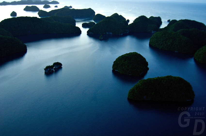 Aerials after sunset over the Rock islands in Palau Micronesia