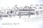 Edmonds Ferry, ink on paper, Journal Art 2011,