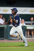 New Hampshire Fisher Cats outfielder Roemon Fields (4) scores a run during a game against the Harrisburg Senators on July 21, 2015 at Metro Bank Park in Harrisburg, Pennsylvania.  New Hampshire defeated Harrisburg 7-1.  (Mike Janes/Four Seam Images)