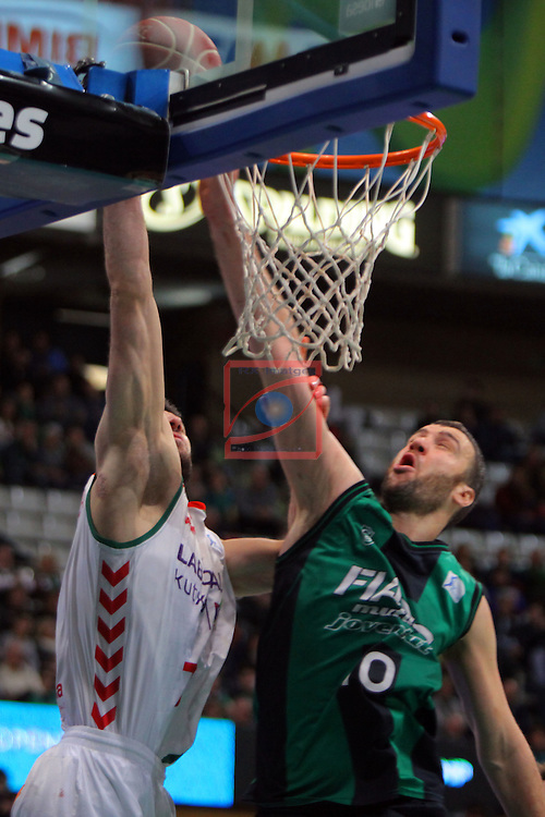 League ACB-Endesa 2015-2016. Game: 16.<br /> FIATC Joventut vs Laboral Kutxa Baskonia: 68-89.<br /> Bourousis vs Albert Miralles.
