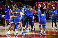 College Park, MD - March 25, 2019: UCLA Bruins players celebrate after defeating the Terrapins 85-80 in their second round game of the NCAAW Tournament at Xfinity Center in College Park, MD. UCLA advances to face UCONN in the Sweet 16.(Photo by Phil Peters/Media Images International)