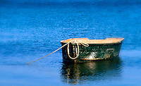 Rustic wooden row boat