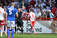 Johnny Hunt of Stevenage is booked during Stevenage vs Tranmere Rovers, Sky Bet EFL League 2 Football at the Lamex Stadium on 4th August 2018