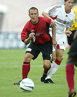 26 June 2004:  Dallas Burn Jason Kreis in action before the game against DC United at Cotton Bowl in Dallas, Texas.    Kreis scored 89th goal in that game.    DC United and Dallas Burn are tied 1-1 after the game.   Credit: Michael Pimentel / ISI