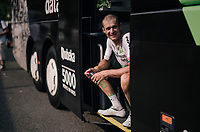 Jay Robert Thomson (ZAF/Dimension Data) recuperating at the teambus after the stage<br /> <br /> Stage 18: Trie-sur-Baïse > Pau (172km)<br /> <br /> 105th Tour de France 2018<br /> ©kramon