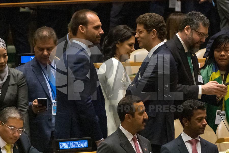 Nova York (EUA), 24/09/2019 - Assembléia Geral / ONU - Eduardo Bolsonaro e Ricardo Salles durante abertura da 74ª Assembleia Geral da Organização das Nações Unidas (ONU)  em Nova York nos Estados Unidos nesta terça-feira, 24. (Foto: William Volcov/Brazil Photo Press/Agencia O Globo) Mundo