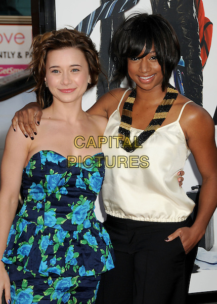 "OLESYA RULIN & MONIQUE COLEMAN.""17 Again"" Los Angeles Premiere held at Grauman's Chinese Theatre, Hollywood, California, USA..April 14th, 2009.half length white cream top strapless blue turquoise dress gold white beads beaded necklace.CAP/ADM/BP.©Byron Purvis/AdMedia/Capital Pictures."