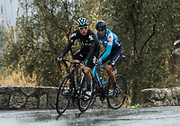 Picture by Alex Broadway/SWpix.com - 11/03/2018 - Cycling - 2018 Paris Nice - Stage Eight - Nice to Nice - David de la Cruz of Team Sky and Marc Soler of Movistar Team climb out of Nice in the rain.<br /> <br /> NOTE : FOR EDITORIAL USE ONLY. THIS IS A COPYRIGHT PICTURE OF ASO. A MANDATORY CREDIT IS REQUIRED WHEN USED WITH NO EXCEPTIONS to ASO/Alex Broadway MANDATORY CREDIT/BYLINE : ALEX BROADWAY/ASO