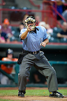 Umpire Joe Hannigan during an Eastern League game between the Erie Seawolves and New Hampshire Fisher Cats at Jerry Uht Park on August 9, 2012 in Erie, Pennsylvania.  Erie defeated New Hampshire 6-0.  (Mike Janes/Four Seam Images)