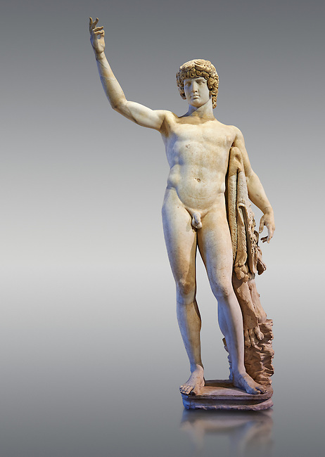 Statue of Antinous - a 2nd century Roman sculpture in marble from Italy. The statue is a montage of a more modern head of Antinous with an older body in the style of Hercules. Inv No. MR 74 (Usual No Ma 2243), Louvre Museum, Paris.