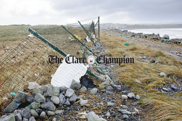 A view of some of the damage done to the walkway and fencing adjacent to the Golf club during Storm Imogen in Lahinch. Photograph by John Kelly.