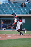 Lake Elsinore Storm second baseman Esteury Ruiz (12) during a California League game against the Lancaster JetHawks on April 10, 2019 at The Hanger in Lancaster, California. Lake Elsinore defeated Lancaster 10-0 in the first game of a doubleheader. (Zachary Lucy/Four Seam Images)
