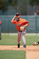 GCL Astros shortstop Jose Mendoza (13) throws to first base during a Gulf Coast League game against the GCL Marlins on August 8, 2019 at the Roger Dean Chevrolet Stadium Complex in Jupiter, Florida.  GCL Marlins defeated GCL Astros 5-4.  (Mike Janes/Four Seam Images)