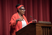 Monique Hankerson, Associate Director of Housing Services and Ella Turenne, Assistant Dean for Community Engagement.<br /> An Evening with Tarana Burke, founder of the #MeToo movement & social justice activist, Thorne Hall, Feb. 26, 2018.<br /> Tarana Burke shares the heartbreaking story behind the genesis of the viral 'me too' movement, and gives strength and healing to those who have experienced sexual trauma or harassment. The simple yet courageous #metoo hashtag campaign amplified by actress Alyssa Milano, has emerged as a rallying cry for people everywhere who have survived sexual assault and sexual harassment – and Tarana's powerful, poignant story as creator of what is now an international movement that supports survivors will move, uplift, and inspire you.<br /> Sponsored by: Residential Education & Housing Services, Project SAFE, Office of Community Engagement, Intercultural Community Center, Chief Diversity Officer & Remsen Bird.<br /> (Photo by Marc Campos, Occidental College Photographer)