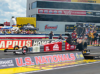 Sep 3, 2018; Clermont, IN, USA; NHRA top fuel driver Doug Kalitta during the US Nationals at Lucas Oil Raceway. Mandatory Credit: Mark J. Rebilas-USA TODAY Sports