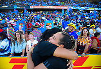The Black Ferns celebrate winning the women's Fast Four final on day two of the 2019 HSBC World Sevens Series Hamilton at FMG Stadium in Hamilton, New Zealand on Sunday, 27 January 2019. Photo: Dave Lintott / lintottphoto.co.nz