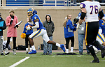 BROOKINGS, SD - NOVEMBER 16: Don Gardner #21 of the South Dakota State Jackrabbits scoops up a fumble and returns it for a touchdown against the Northern Iowa Panthers during their game Saturday afternoon at Dana J. Dykhouse Stadium in Brookings, SD. (Photo by Dave Eggen/Inertia)