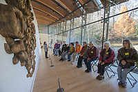 NWA Democrat-Gazette/J.T. WAMPLER Amanda Driver, access and inclusive programs manager for Crystal Bridges Museum of American Art in Bentonville leads a Crystal BridgesÕ Creative Connections Art and AlzheimerÕs Program Monday Nov. 26, 2018. She led the group in a guided meditation session in front of Unraveling by Ursula von Rydingsvard before going to a yoga class.