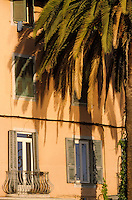 France/Corse/Corse-du-Sud/2A/Ajaccio: Détail de la façade d'une maison et palmiers sur le port de pêche