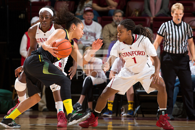 STANFORD, CA - January 3, 2014: Stanford Cardinal's Lili Thompson during the Pac-12 Opener versus the Oregon Ducks at Maples Pavilion.  Stanford defeated the Ducks 96-66.