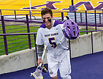 Senior Connor Fields (#5) leaves the field after his last home game.  UAlbany Men's Lacrosse defeats Richmond 18-9 on May 12 at Casey Stadium in the NCAA tournament first round.