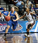 SIOUX FALLS MARCH 22:  Jane White #5 from Bentley University drives past Kiana Johnson #3 from Virginia Union during their quarterfinal game at the NCAA Women's Division II Elite 8 Tournament at the Sanford Pentagon in Sioux Falls, S.D.  (Photo by Dave Eggen/Inertia)