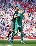 Maya Yoshida of Southampton celebrates with Fraser Forster of Southampton after he saved a penalty during the English Premier League match at Anfield Stadium, Liverpool. Picture date: May 7th 2017. Pic credit should read: Simon Bellis/Sportimage
