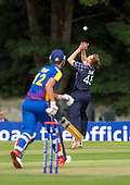 ICC World T20 Qualifier (Warm up match) - Scotland V Namibia at Grange CC, Edinburgh - Scotland bowler Ally Evans takes a caught and bowled to remove Namibia bat Raymond van Schoor (42 off 34) — credit @ICC/Donald MacLeod - 06.7.15 - 07702 319 738 -clanmacleod@btinternet.com - www.donald-macleod.com