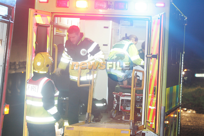 Drogheda Fire and Rescue Service 14B1 and Navan Fire Service B1 were called to the scene of a collision between a VW Golf Car and and Articulated Lorry on the main road between Drogheda and Slane near dollymitchells in Co Meath, the single occupant of the car had to be removed with the use of cutting equipment, and was taken by ambulance to Our Lady of Lourdes Hospital in Drogheda. The main road remained closed for a period of time while the emergency services delt with the scene..Photo: Fran Caffrey/ Newsfile.<br />