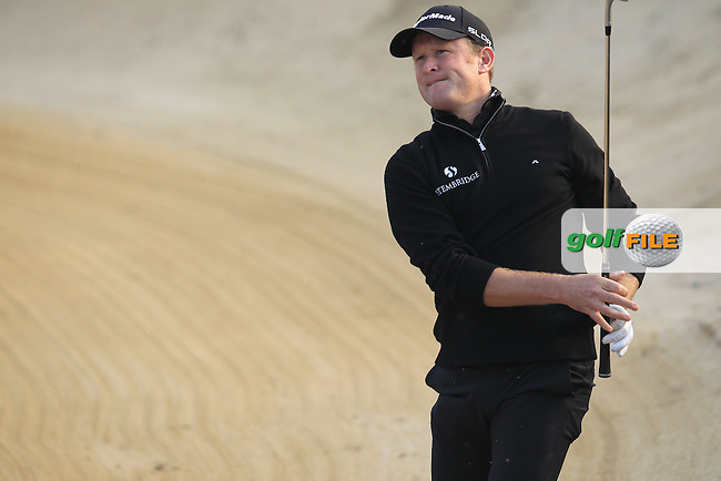 Jamie Donaldson (WAL) chips from a bunker at the 16th green from the crowd during Sunday's Final Round of the 2014 BMW Masters held at Lake Malaren, Shanghai, China. 2nd November 2014.<br /> Picture: Eoin Clarke www.golffile.ie
