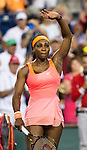 Serena Williams (USA) waves to the crowd after her quarterfinal match against Timea Bacsinszky (SUI). Serena defeated a tough Bacsinszky with a score of 75 63 at the BNP Parisbas Open in Indian Wells, CA on March 18, 2015.