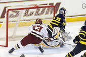 Cam Atkinson (BC - 13), Joe Cannata (Merrimack - 35) - The Boston College Eagles defeated the Merrimack College Warriors 4-3 on Friday, October 30, 2009, at Conte Forum in Chestnut Hill, Massachusetts.