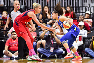 Washington, DC - August 12, 2018: Washington Mystics All-Star guard Elena Delle Donne (11) guards Dallas Wings All-Star guard Skylar Diggins-Smith (4) during game between the Washington Mystics and the Dallas Wings at the Capital One Arena in Washington, DC. (Photo by Phil Peters/Media Images International)