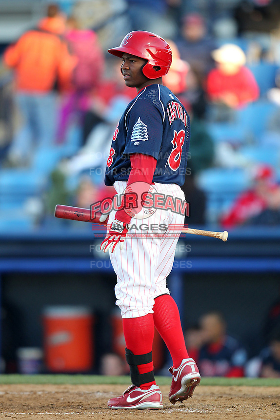 Reading Phillies outfielder Leandro Castro #18 during a game against the Portland Seadogs at FirstEnergy Stadium on April 7, 2012 in Reading, Pennsylvania.  Reading defeated Portland 4-1.  (Mike Janes/Four Seam Images)
