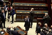 Roma, 19 Aprile 2013.Camera dei Deputati.Votazione del Presidente della Repubblica a camere riunite.Quarto Scrutinio..Alessandro Di Battista del Movimento 5 Stelle esulta