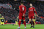 Jordan Henderson (r) of Liverpool celebrates scoring the second goal of the game during the Premier League match at Anfield, Liverpool. Picture date: 1st February 2020. Picture credit should read: James Wilson/Sportimage