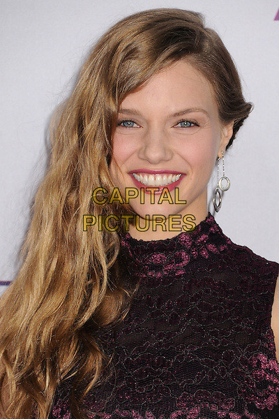 Tracy Spiridakos.People's Choice Awards 2013 - Arrivals held at Nokia Theatre L.A. Live, Los Angeles, California, USA..January 9th, 2013.headshot portrait lace purple sleeveless black.CAP/ADM/BP.©Byron Purvis/AdMedia/Capital Pictures.