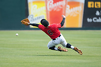 Kannapolis Intimidators shortstop Max Dutto (6) can't quite catch this pop fly in shallow center field during the game against the Rome Braves at Kannapolis Intimidators Stadium on April 12, 2017 in Kannapolis, North Carolina.  The Braves defeated the Intimidators 4-3.  (Brian Westerholt/Four Seam Images)