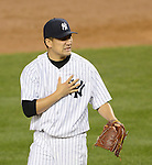Masahiro Tanaka (Yankees),<br /> APRIL 27, 2014 - MLB :<br /> Pitcher Masahiro Tanaka of the New York Yankees reacts during the Major League Baseball game against the Los Angeles Angels at Yankee Stadium in Bronx, New York, United States. (Photo by AFLO)