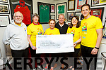 Corinne Evans presents a cheque to Pieta House on Friday morning.<br /> L to r: Martin Brosnan, Ann Leahy O'Shea, Corinne Evans, Con O'Connor (Pieta House), Georgina Collins and Chris Horan