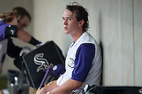 Winston-Salem Dash starting pitcher Carson Fulmer (16) rests in the dugout between innings of the Carolina League game against the Carolina Mudcats at BB&T Ballpark on July 23, 2015 in Winston-Salem, North Carolina.  The Dash defeated the Mudcats 3-2.  (Brian Westerholt/Four Seam Images)