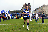 Freddie Burns and the rest of the Bath Rugby team run out onto the field. Anglo-Welsh Cup match, between Bath Rugby and Newcastle Falcons on January 27, 2018 at the Recreation Ground in Bath, England. Photo by: Patrick Khachfe / Onside Images