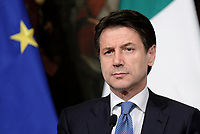 Roma, 17 Gennaio 2019<br />  Giuseppe Conte.<br /> Conferenza stampa al termine del Consiglio dei Ministri che ha approvato il decreto legge su Reddito di cittadinanza e pensioni