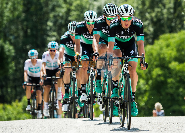 The peleton with Bora-Hansgrohe on the front during Stage 5 of the 2018 Criterium du Dauphine 2018 running 130km from Grenoble to Valmorel, France. 8th June 2018.<br /> Picture: ASO/Alex Broadway | Cyclefile<br /> <br /> <br /> All photos usage must carry mandatory copyright credit (© Cyclefile | ASO/Alex Broadway)